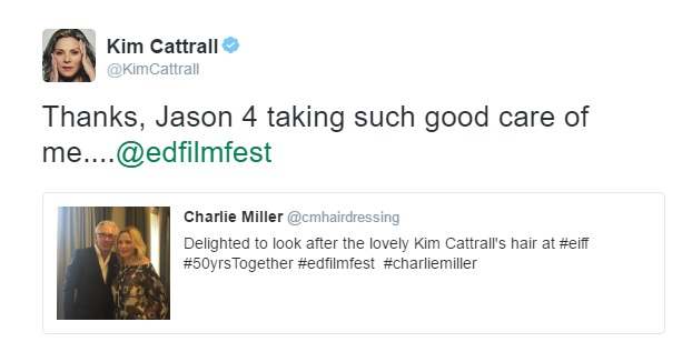 Kim Cattrall tweets Charlie Miller Hairdressing #EIFF